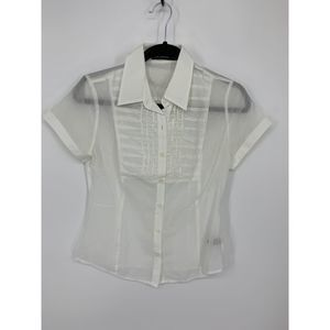 The limited S white sheer button down blouse